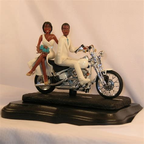 Motorcycle Wedding Cake Topper With African American Bride