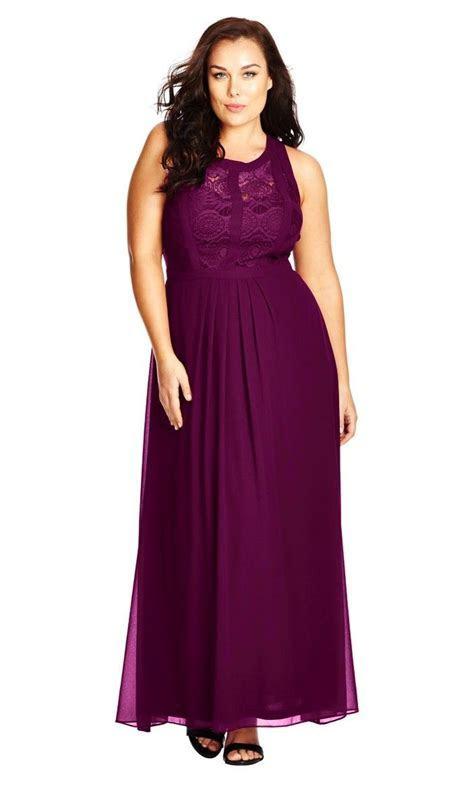 Women's Plus Size Panelled Bodice Maxi Dress   Mulberry