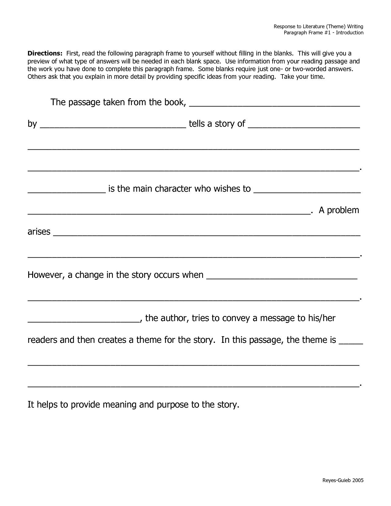 Writing A Summary Paragraph Frame