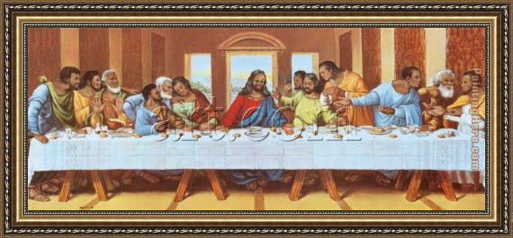 Leonardo Da Vinci Large Picture Of The Last Supper Framed Painting