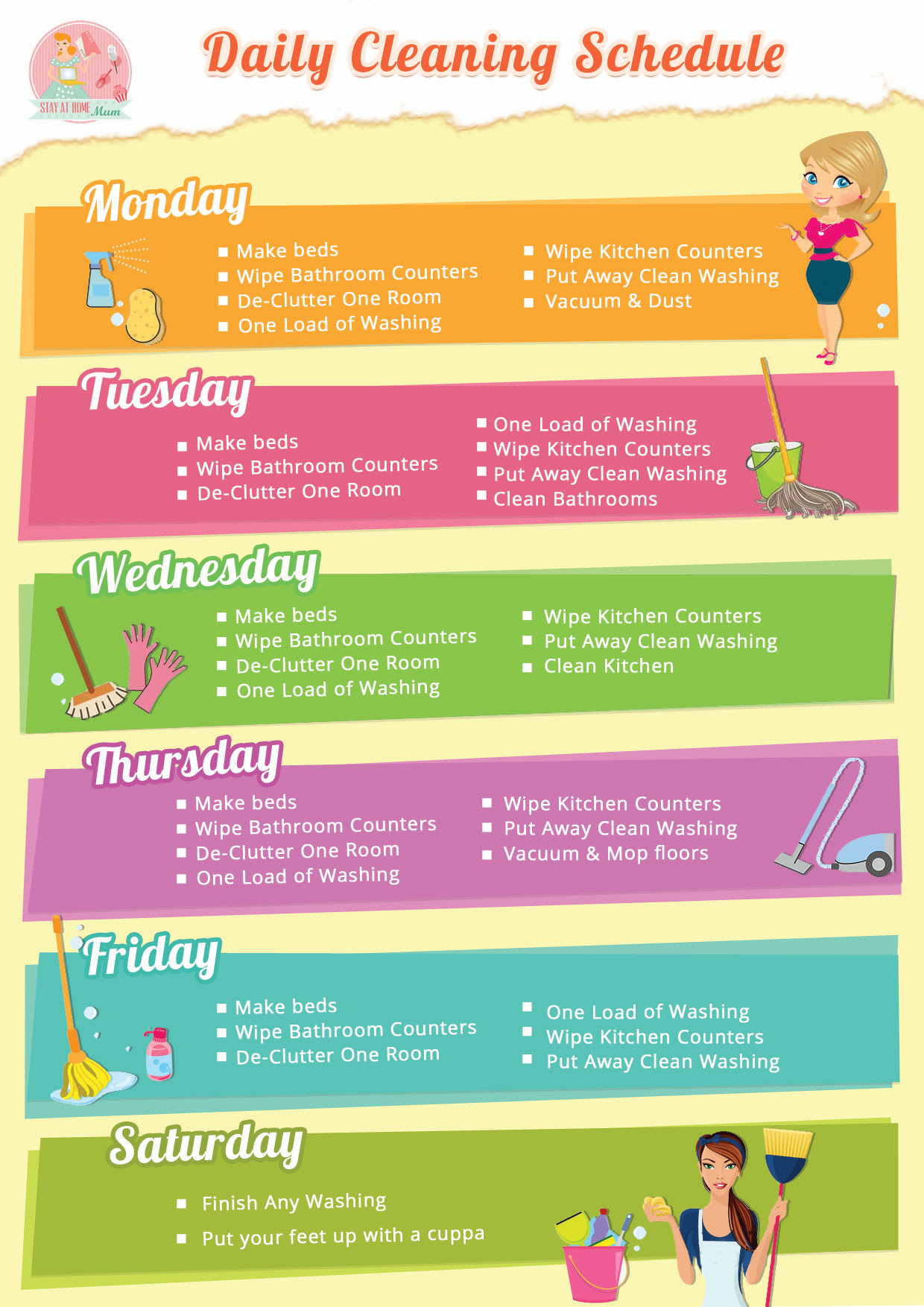 Always cleaning? Print our free Daily Home Cleaning Schedule check ...