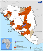 Distribution map showing districts and cities reporting suspect ceses of Ebola. Suspected cases were reported in Kissidougou, Gueckedou, Macenta, and Nzerekore
