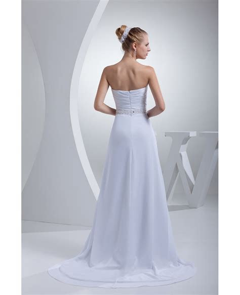 Elegant Chiffon Long Beach Wedding Dress Strapless #OP4429