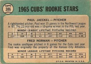 #386 Cubs Rookie Stars: Paul Jaeckel and Fred Norman (back)