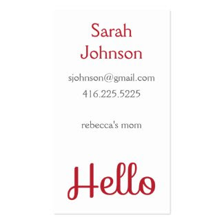 'Hello' Mommy Calling Card Business Card