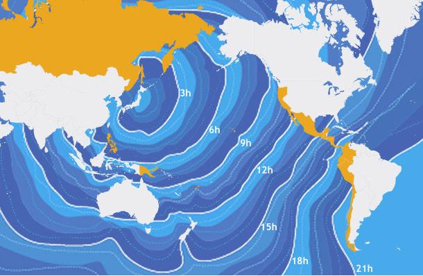 rota do tsunami