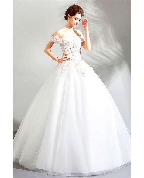 Gorgeous Off Shoulder White Lace Cheap Wedding Dress Ball