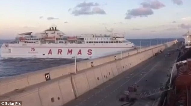 The incident, involving a car ferry called the Volcan de Tamasite which regularly covers the two-and-a-half-long route between the two islands, happened just before 8.30 on Friday