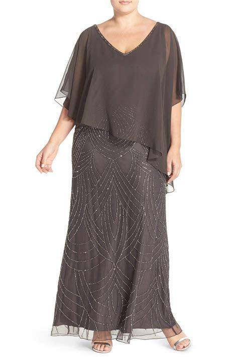 J Kara Chiffon Overlay Embellished Long Dress (Plus Size