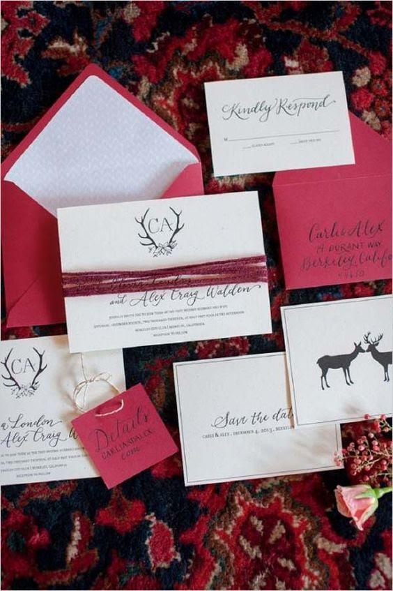 hot rosa Hochzeit Einladungen mit Bindfaden und Kalligrafie für einen bunten winter-Hochzeit