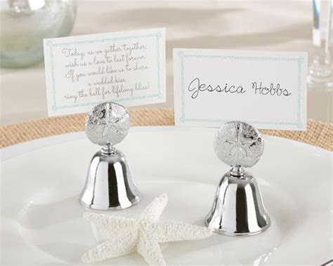 """Beach Bliss"" Sand Dollar Kissing Bell   Place Card Holder"