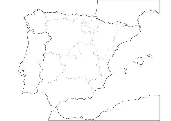Mapa España Comunidades Autonomas Blanco Y Negro.Mapa Politico De Espana Blanco Y Negro Mapa