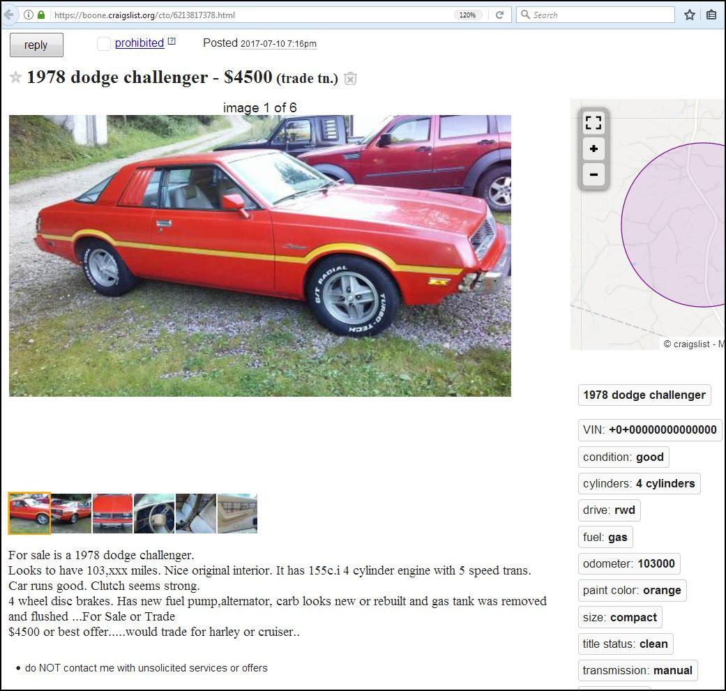 Dodge Colt For Sale Craigslist