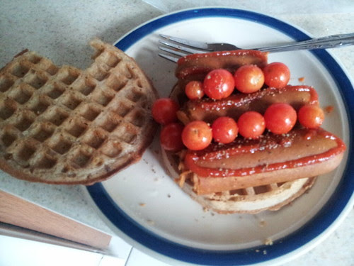 Frankfurter on blueberry waffles