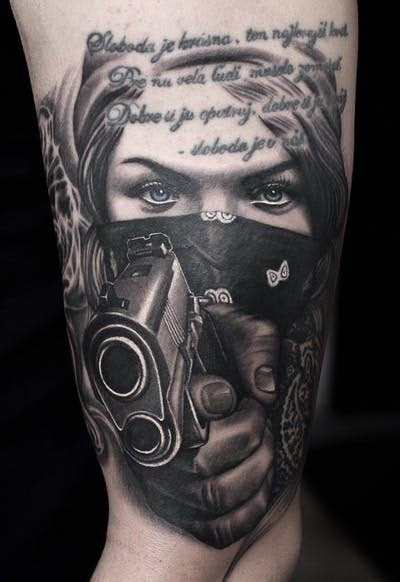 girly gangster gun tattoos tatto pictures