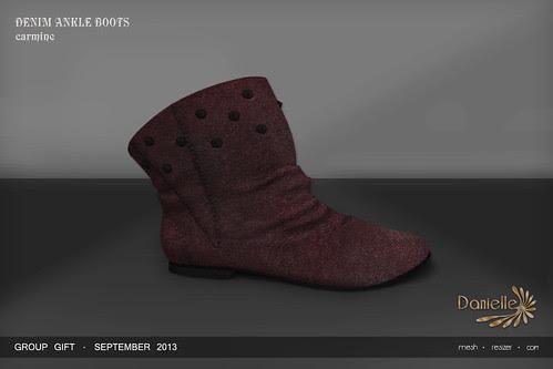 DANIELLE Group Gift Sept 2013 Denim Boots Carmine
