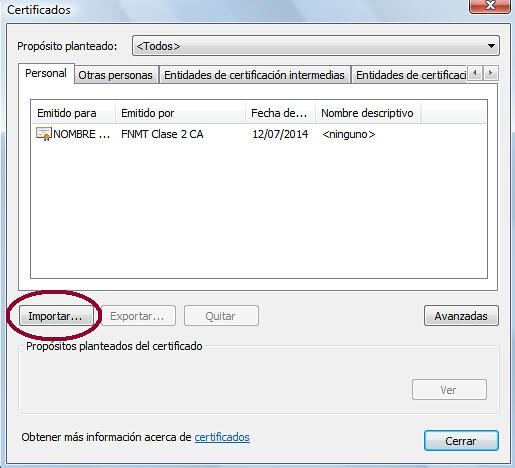 Almacén de certificados en Google Chrome en Windows