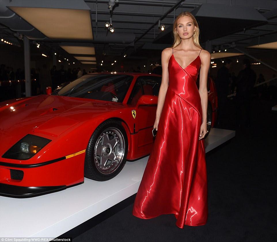 Va va voom: Romee Strijd also stunned in a red dress