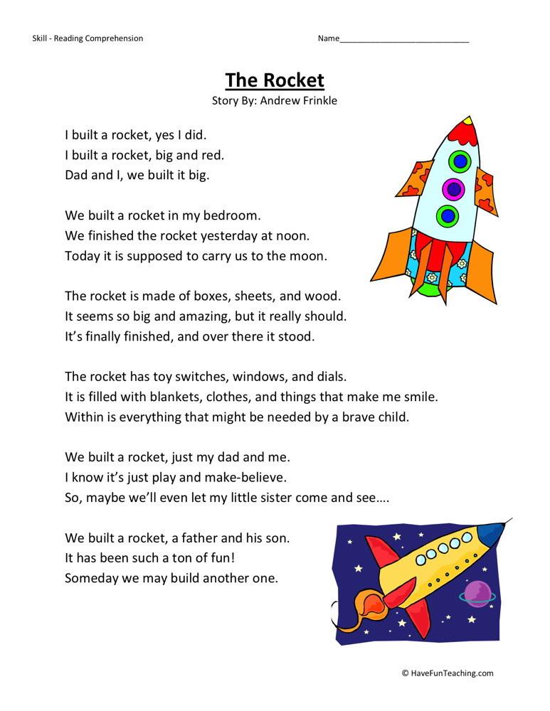 Reading Prehension Worksheet The Rocket