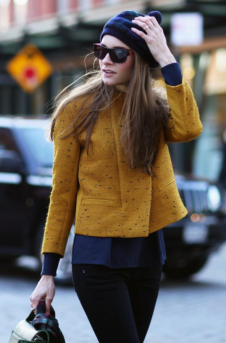 Blue and mustard street style.