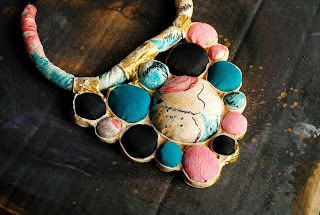 bohemian sin: Spot the pastel dots- contemporary silk/cotton fabric necklace -sorbet pastels