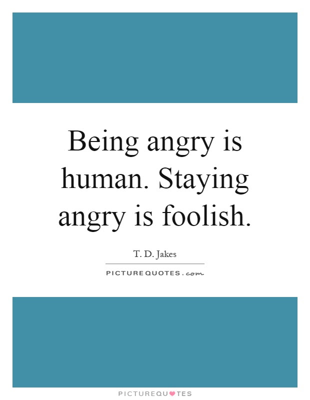 Being Angry Is Human Staying Angry Is Foolish Picture Quotes