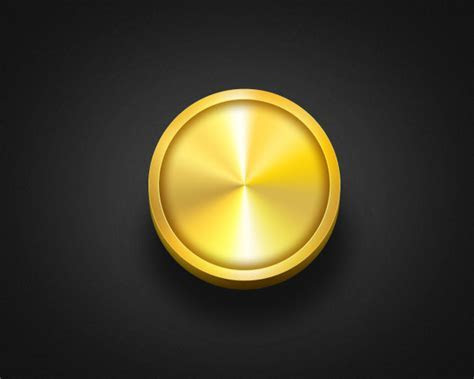 Golden round button psd material free download