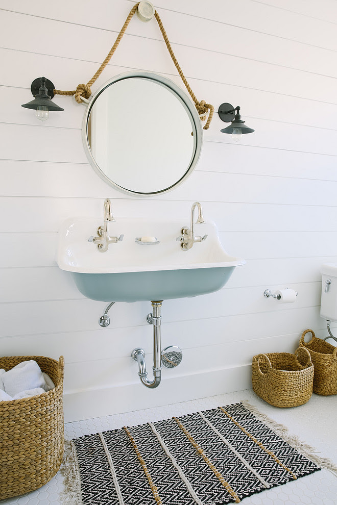 Blue Kohler Brockway Sink. Kids bathroom with Kohler Brockway Sink. Kids bathroom with blue Kohler Brockway Sink and shiplap walls. #KohlerBrockwaySink Rita Chan Interiors.