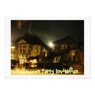Halloween Party Invitation - haunted house