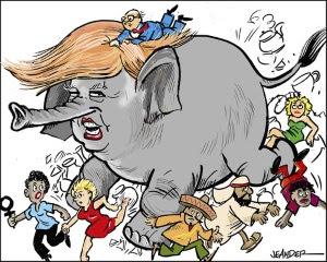 Donald Trump går fram som en skenande elefant