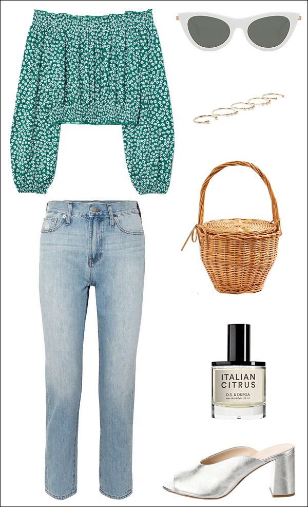 90s Floral Off Shoulder Top Le Specs Cat Eye Sunglasses Basket Bag Italian Citrus Fragrance Madewell Jeans Loeffler Randall Metallic Mules Spring Summer Style Outfit Idea Le Fashion Blog