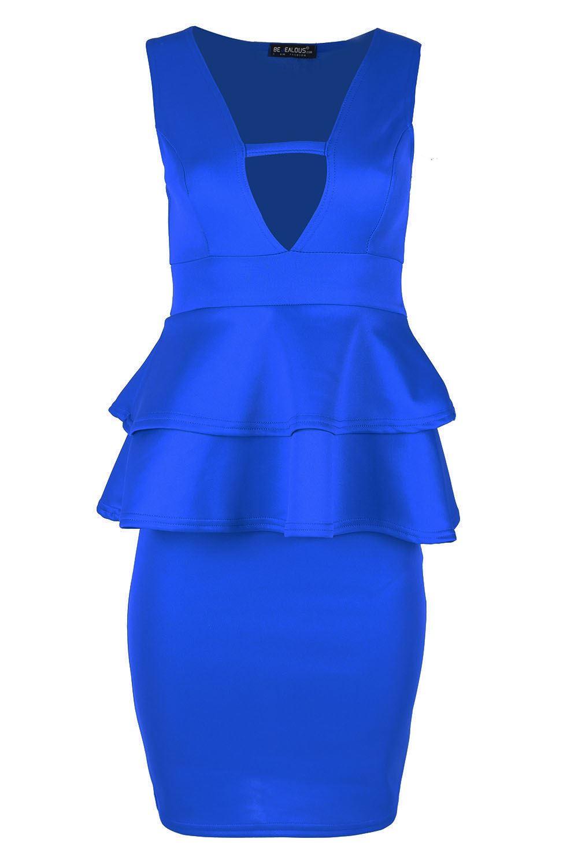 Box split neck bowknot embellished peplum waist dress olivia