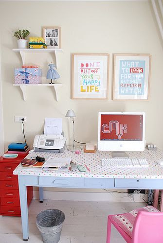 How cute is the polka dot desk perhaps in a little girls room?