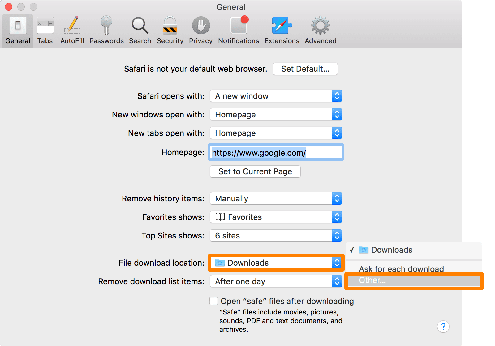 Safari Downloads Location Other
