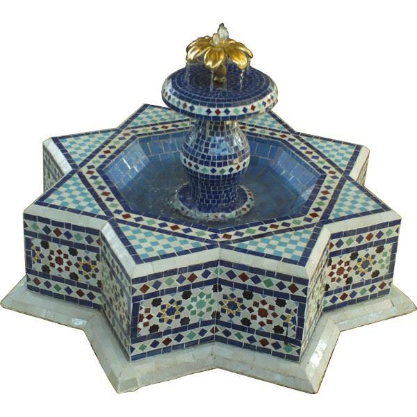 Fontaine de jardin en zellige, Artisanat marocain de Marrakech