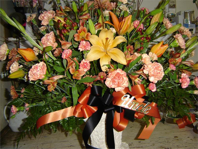 Funeral Spray With Fall Theme