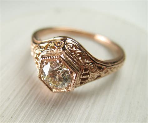 Custom Vintage Rose Gold Diamond Wedding Ring   Spexton