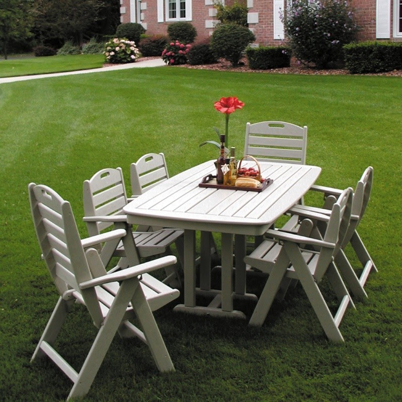 Polywood Nautical Recycled Plastic Outdoor Dining Set 7 ...