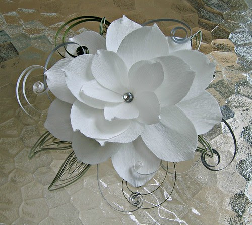 Paper flower hair accessory