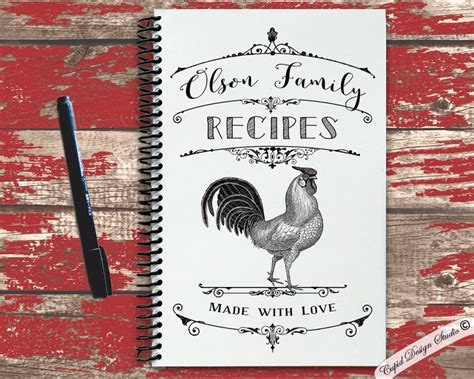 Personalized recipe book with kraft cover   Cupid Design