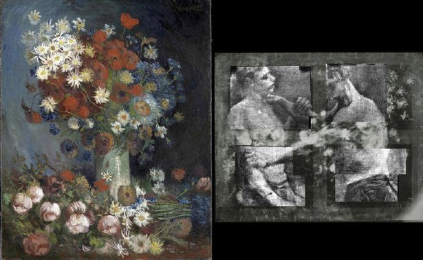 Vincent Van Gogh originally painted a canvas of two wrestlers and then painted Still Life With Meadows and Roses over it photo