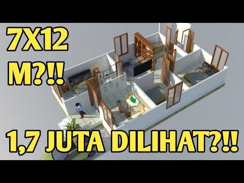 terbaru denah rumah 7x12 3 kamar tidur, video denah rumah
