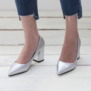 womens silver pointed toe chunky block med heel pumps