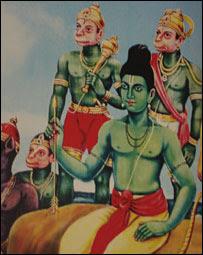 Imágenes de los dioses Ram y Hanuman.