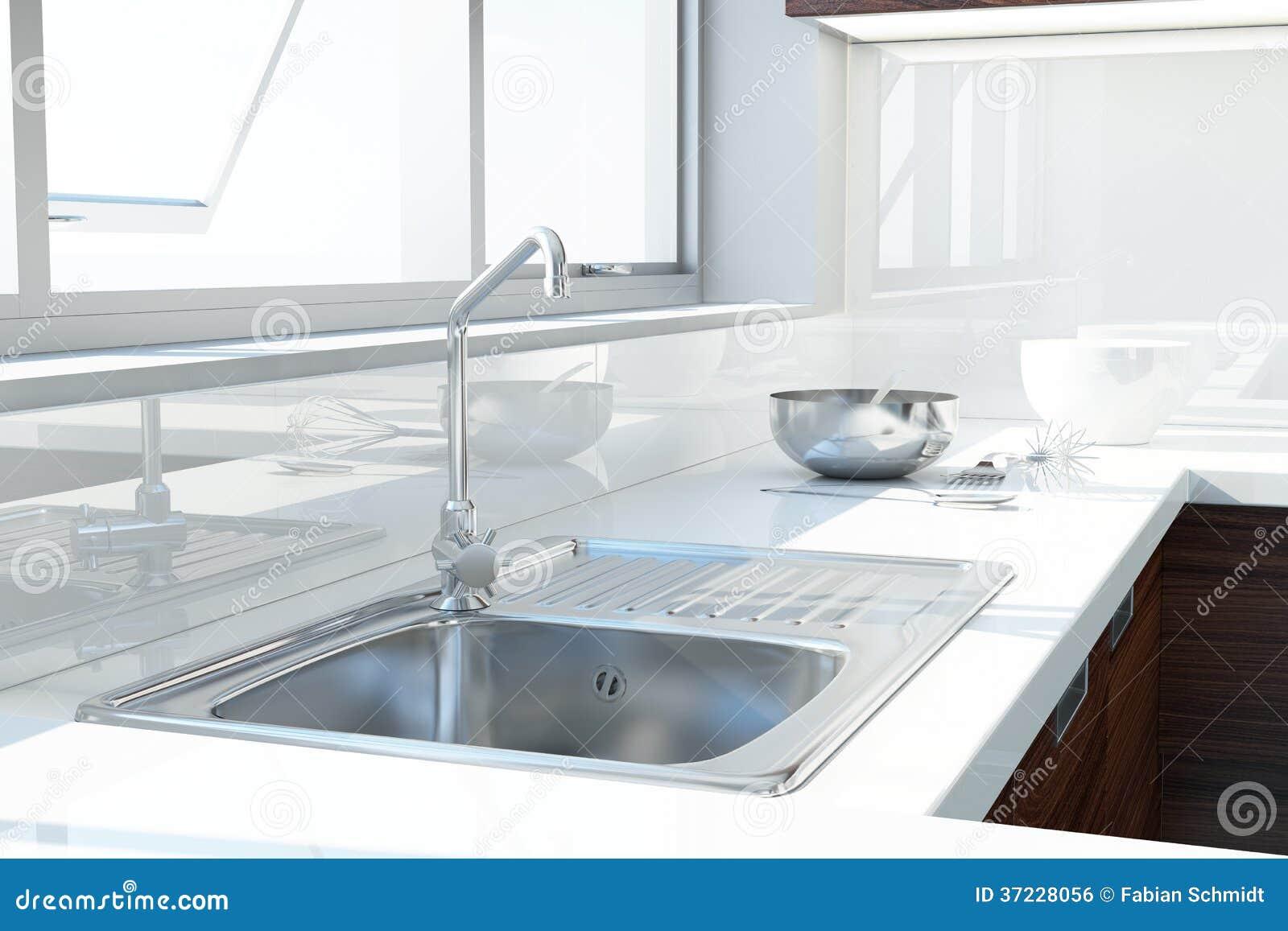Moderne Weiße Küche Lizenzfreies Stockbild - Bild: 37228056