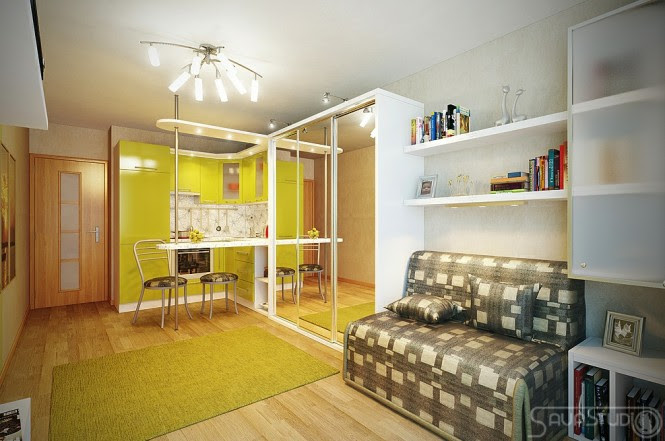 Lime green white kitchen decor