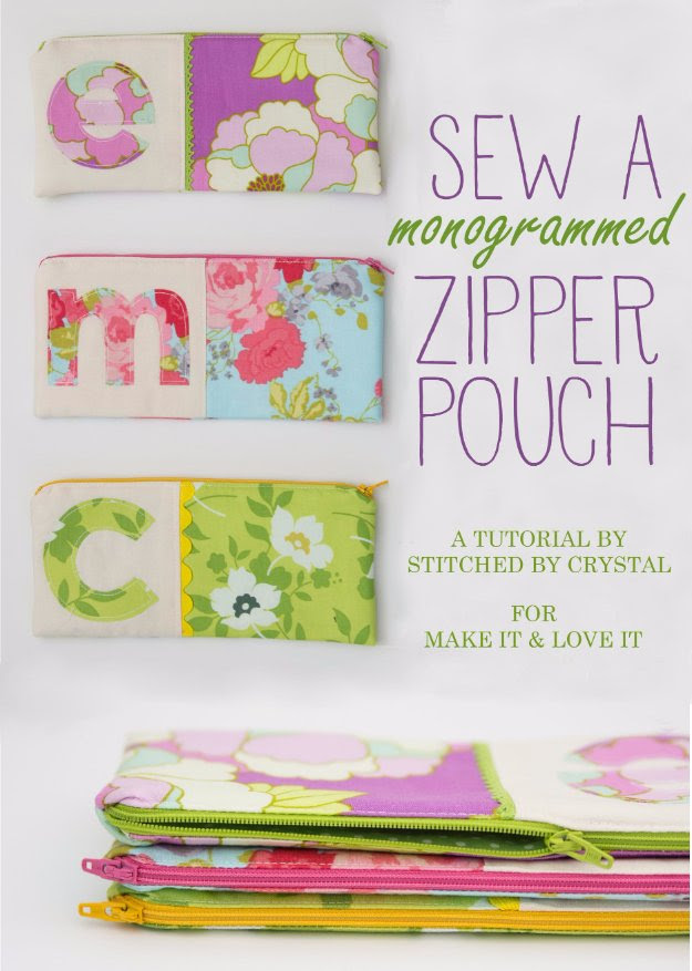 Cool Crafts You Can Make With Fabric Scraps - Monogrammed Zipper Pouch - Creative DIY Sewing Projects and Things to Do With Leftover Fabric and Even Old Clothes That Are Too Small - Ideas, Tutorials and Patterns http://diyjoy.com/diy-crafts-leftover-fabric-scraps