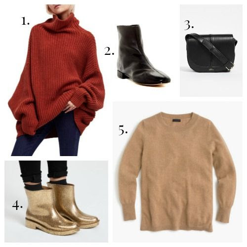 Free People Sweater - Topshop Boots - A.P.C. Bag - Melissa Rainboots - J.Crew Cashmere