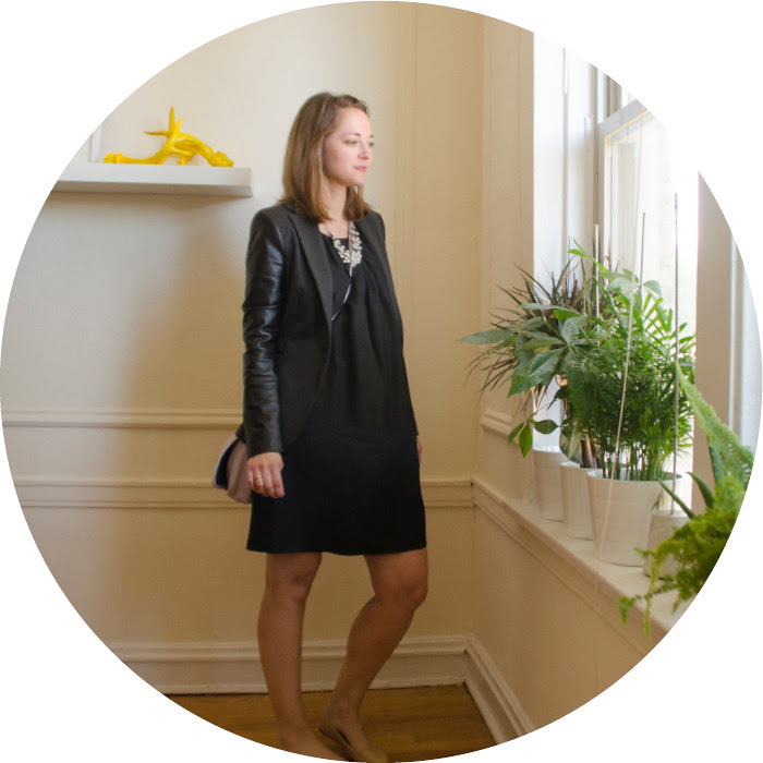 black outfit with nude flats, leather-sleeved zara jacket, zara mixed materials jacket, black silk sack dress, wayf silk dress, work outfits, how to wear black