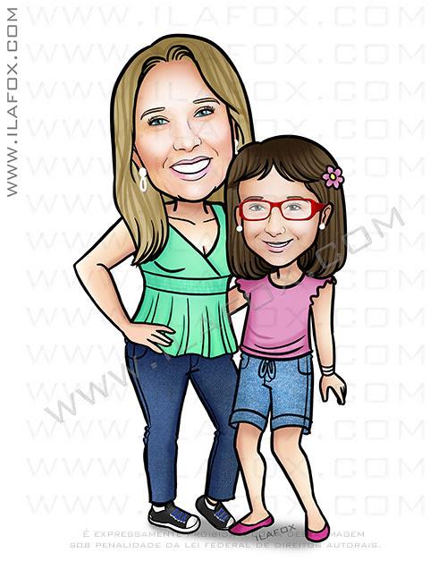 caricatura mãe e filha, caricatura criança, caricatura personalizada, by ila fox